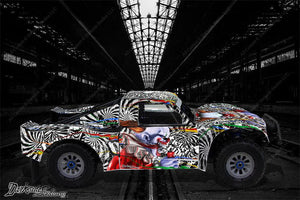"LOSI 5IVE T 4WD TRUCK WRAP GRAPHIC DECAL STICKERS ""TICKET TO RIDE"" FITS OEM BODY - Darkside Studio Arts LLC."