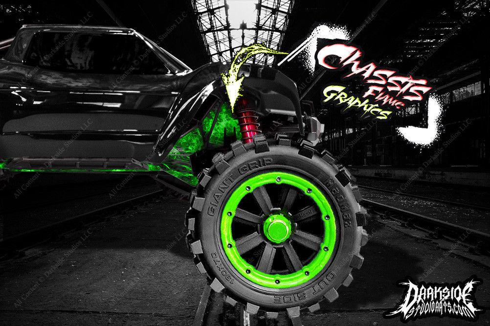 TRAXXAS X-MAXX CHASSIS / SHOCK TOWER PRINTED FLAMES GRAPHICS DECALS GREEN - Darkside Studio Arts LLC.