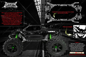 TRAXXAS X-MAXX CHASSIS / SHOCK TOWER HOP UP 'TICKET TO RIDE' GRAPHICS DECALS - Darkside Studio Arts LLC.