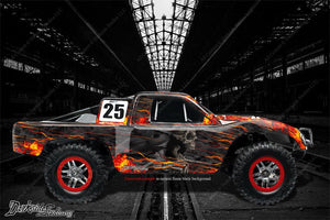 "TRAXXAS SLASH 4X4 GRAPHICS WRAP DECALS ""HELL RIDE"" FITS OEM LEXAN BODY PARTS - Darkside Studio Arts LLC."