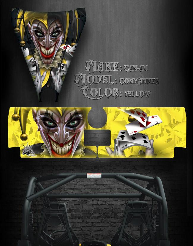 "CAN-AM COMMANDER 1000X 1000 HOOD /& TAILGATE GRAPHICS /""THE JESTERS GRIN /"" BLACK"
