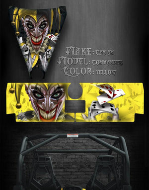 "CAN-AM COMMANDER 1000X 1000 HOOD & TAILGATE GRAPHICS ""THE JESTERS GRIN "" BLACK - Darkside Studio Arts LLC."