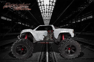 "TRAXXAS X-MAXX GRAPHICS WRAP DECALS ""THE OUTLAW"" FITS PROLINE CHEVY SILVERADO, FORD RAPTOR, BRUTE BASH & STOCK BODY - Darkside Studio Arts LLC."
