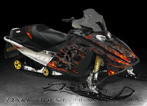 "SKI-DOO 2003-2007 MXZ REV GRAPHICS KIT ""HELL RIDE"" M-XZ GSX RENEGADE FLAMES - Darkside Studio Arts LLC."