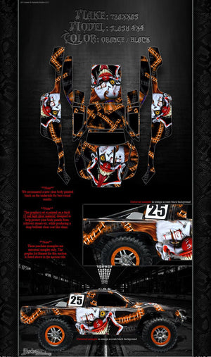 "TRAXXAS SLASH 4X4 GRAPHICS WRAP DECALS ""STIFF UPPER LIP"" FITS OEM BODY & PARTS - Darkside Studio Arts LLC."