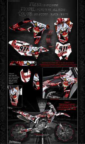 HUSQVARNA TC TE FC FS SERIES 2008-2013 GRAPHICS WRAP ' STIFF UPPER LIP' 250 510 - Darkside Studio Arts LLC.