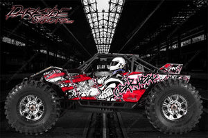 "AXIAL YETI MONSTER BUGGY WRAP GRAPHICS ""GEAR HEAD"" FITS OEM BODY PARTS 1/8 RED - Darkside Studio Arts LLC."