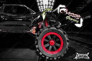 TRAXXAS X-MAXX CHASSIS / SHOCK TOWER HOP UP 'LUCKY' GRAPHICS WRAP DECALS RED - Darkside Studio Arts LLC.