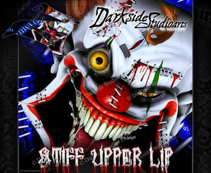 "YAMAHA 2000-2014 TTR110 TTR125 ""STIFF UPPER LIP"" CRAZY CLOWN DECAL GRAPHICS WRAP - Darkside Studio Arts LLC."