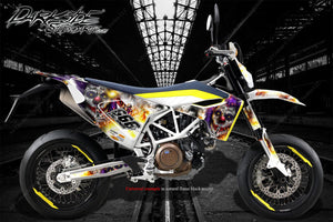 HUSQVARNA 701 SUPERMOTO / ENDURO GRAPHICS WRAP 'PYRO' DECAL KIT - Darkside Studio Arts LLC.