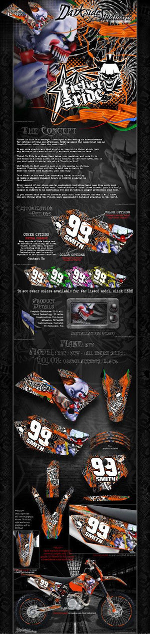 """TICKET TO RIDE"" GRAPHICS WRAP DECALS FITS KTM 1998-2007 EXC XCW 250 300 450 525 - Darkside Studio Arts LLC."