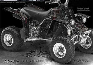 "YAMAHA BANSHEE YFZ350 DECALS GRAPHICS ""THE OUTLAW"" BLUE KIT SET FENDERS SHROUDS - Darkside Studio Arts LLC."