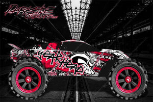 "TRAXXAS RUSTLER GRAPHICS DECALS WRAP ""GEAR HEAD"" RED FITS OEM BODY PARTS - Darkside Studio Arts LLC."