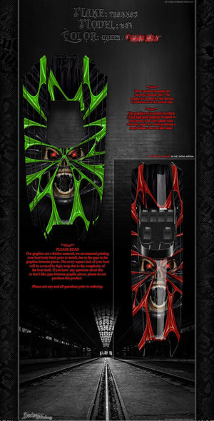 "TRAXXAS DCB M41 CATAMARAN GRAPHICS ""THE DEMONS WITHIN"" FITS OEM HULL DECAL SET - Darkside Studio Arts LLC."