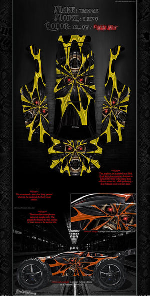"TRAXXAS E-REVO GRAPHICS WRAP DECALS ""THE DEMONS WITHIN"" FITS OEM BODY AND PARTS - Darkside Studio Arts LLC."