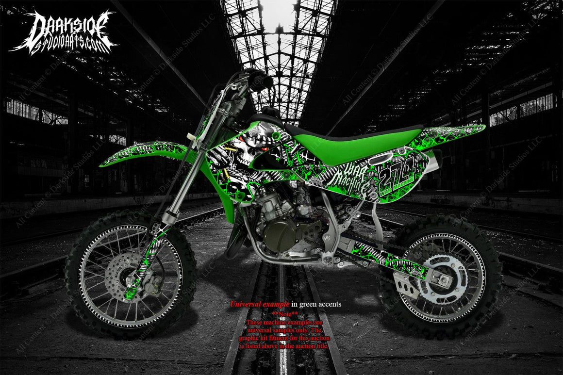 "KAWASAKI 1985-2018 KX60 KX65 ""WAR MACHINE"" GRAPHICS WRAP DECALS FOR OEM AND UFO - Darkside Studio Arts LLC."