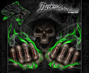 "KAWASAKI 2004-2020 KXF250 ""HELL RIDE"" GRAPHICS WRAP DECAL KIT KX250F 4-STROKE - Darkside Studio Arts LLC."