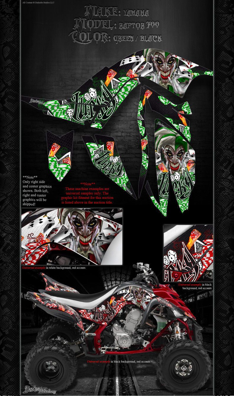 """YAMAHA RAPTOR 700 2006-2012 /""""THE FREAK SHOW/"""" GRAPHICS FOR WHITE /& RED PARTS 700R"""