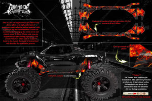 TRAXXAS X-MAXX CHASSIS / SHOCK TOWER PRINTED FLAMES GRAPHICS DECALS NATURAL - Darkside Studio Arts LLC.