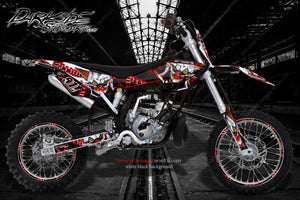 HUSQVARNA CR50 CR65 TC50 TC65 TC85 HUSKY BOY GRAPHICS DECALS 'STIFF UPPER LIP' - Darkside Studio Arts LLC.