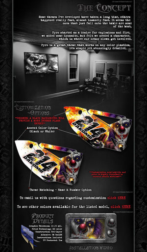 "TRAXXAS E-MAXX GRAPHICS WRAP DECALS ""PYRO"" CLOWN & FLAMES FITS TRA3911 OEM BODY PARTS - Darkside Studio Arts LLC."