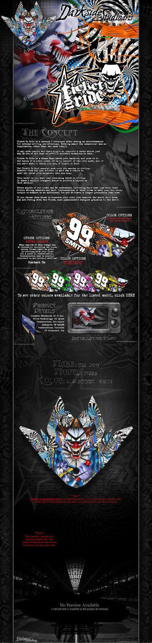 SEA-DOO SPARK 2014-2017 JETSKI HOOD DECALS WRAP GRAPHICS SET 'TICKET TO RIDE' - Darkside Studio Arts LLC.