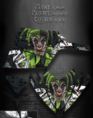 "ARCTIC CAT M-SERIES CROSSFIRE 2006-2011 DECALS GRAPHICS ""THE JESTERS GRIN"" BLACK - Darkside Studio Arts LLC."