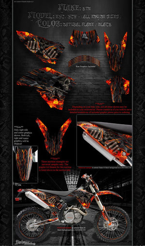 """HELL RIDE"" GRAPHICS WRAP FITS KTM 2008-2011 EXC XCW 250 300 450 525 - Darkside Studio Arts LLC."