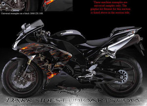 "KAWASAKI ""HELL RIDE"" GRAPHICS WRAP DECALS FOR ZX-10R 2006-2007 OEM FAIRING PARTS - Darkside Studio Arts LLC."