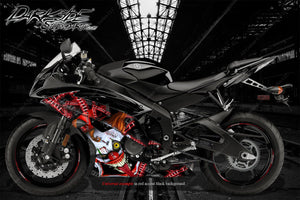 "YAMAHA R1 R3 R6 2008-2018 ""STIFF UPPERLIP"" GRAPHICS WRAP FOR FAIRING & SHROUDS - Darkside Studio Arts LLC."