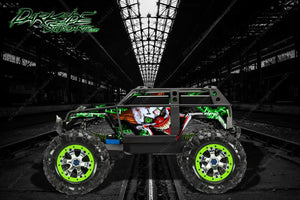 "TRAXXAS SUMMIT GRAPHICS WRAP DECALS ""STIFF UPPER LIP"" FOR OEM BODY PARTS GREEN - Darkside Studio Arts LLC."