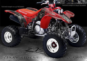 "HONDA 1999-2004 TRX400 TRX400EX GRAPHICS DECALS KIT ""THE OUTLAW"" SKULLS RED 03 - Darkside Studio Arts LLC."