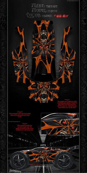 "TRAXXAS E-REVO GRAPHICS WRAP DECALS ""THE DEMONS WITHIN"" FITS OEM BODY & PARTS - Darkside Studio Arts LLC."