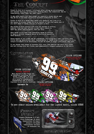 "TRAXXAS X-MAXX GRAPHICS WRAP DECALS ""TICKET TO RIDE"" FITS PROLINE CHEVY SILVERADO, FORD RAPTOR, BRUTE BASH & STOCK BODY - Darkside Studio Arts LLC."