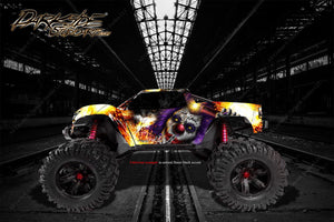 "TRAXXAS X-MAXX GRAPHICS WRAP DECALS ""PYRO"" FITS PROLINE FORD RAPTOR, CHEVY SILVERADO BRUTE BASH & STOCK BODY - Darkside Studio Arts LLC."