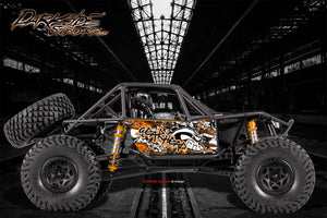 "AXIAL RR10 BOMBER GRAPHICS WRAP DECALS ""GEAR HEAD"" KIT FOR OEM BODY PARTS ORANGE - Darkside Studio Arts LLC."