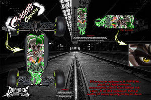 LOSI 8IGHT-T 4.0 CHASSIS WRAP KIT 'LUCKY' HOP UP DECAL SET FITS OEM PARTS GREEN - Darkside Studio Arts LLC.