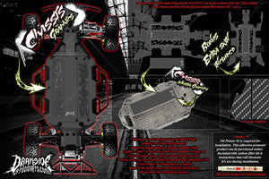 TRAXXAS SLASH 4x4 CARBON FIBER LCG CHASSIS HOP UP GRAPHICS DECALS FITS TRA7421 - Darkside Studio Arts LLC.
