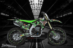 "KAWASAKI 1986-2013 KX125 KX250 2-STROKE ""LUCKY"" GRAPHICS WRAP DECAL KIT - Darkside Studio Arts LLC."