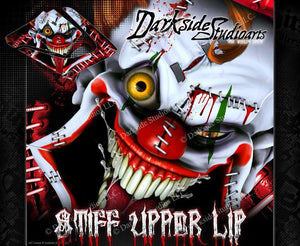 "YAMAHA 1991-2015 DT125R DT125RE DT125X ""STIFF UPPER LIP"" CLOWN GRAPHICS WRAP - Darkside Studio Arts LLC."