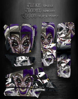 "YAMAHA BANSHEE ATV GRAPHICS ""THE JESTERS GRIN"" BLACK AND PURPLE MODEL - Darkside Studio Arts LLC."