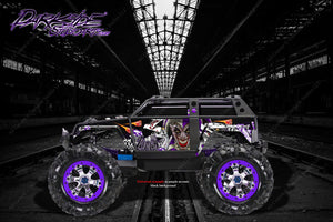 "TRAXXAS SUMMIT GRAPHICS WRAP DECALS ""LUCKY"" FOR OEM BODY PARTS PURPLE & BLACK - Darkside Studio Arts LLC."