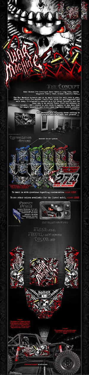 "AXIAL RR10 BOMBER GRAPHICS WRAP DECALS ""WAR MACHINE"" KIT FOR OEM BODY PARTS - Darkside Studio Arts LLC."
