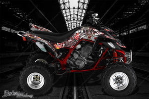 "YAMAHA RAPTOR 660 ""LUCKY"" GRAPHICS SET DECALS WRAP YELLEW & BLACK - Darkside Studio Arts LLC."
