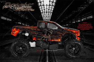 "TRAXXAS E-MAXX GRAPHICS WRAP DECALS ""HELL RIDE"" FITS TRA3911 OEM BODY PARTS - Darkside Studio Arts LLC."
