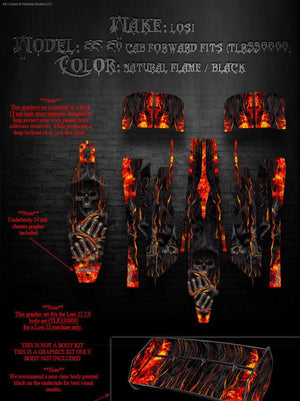"LOSI TWENTY TWO 22 GRAPHICS DECALS FOR CAB FORWARD 2.0 BODY PARTS ""HELL RIDE"" - Darkside Studio Arts LLC."