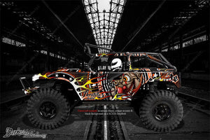 "AXIAL SCX10 DEADBOLT GRAPHICS WRAP DECALS ""THROTTLE JUNKIE"" FITS OEM PARTS - Darkside Studio Arts LLC."