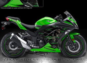 "KAWASAKI 2013-2014 NINJA 300 ""HELL RIDE"" GRAPHICS FOR SHROUD PARTS GREEN FLAME - Darkside Studio Arts LLC."