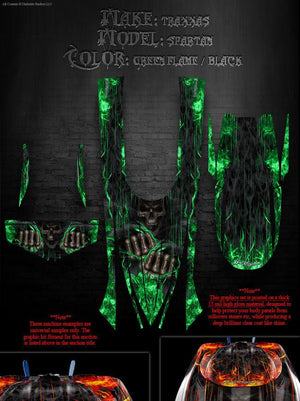 "TRAXXAS SPARTAN BOAT WRAP GRAPHICS DECAL KIT ""HELL RIDE"" FITS OEM HULL AND PARTS - Darkside Studio Arts LLC."