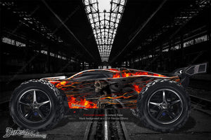 "TRAXXAS E-REVO GRAPHICS WRAP FLAMES DECALS KIT ""HELL RIDE"" FITS OEM BODY & PARTS - Darkside Studio Arts LLC."